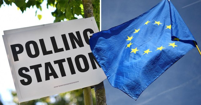 A polling station sign for the European Parliament elections