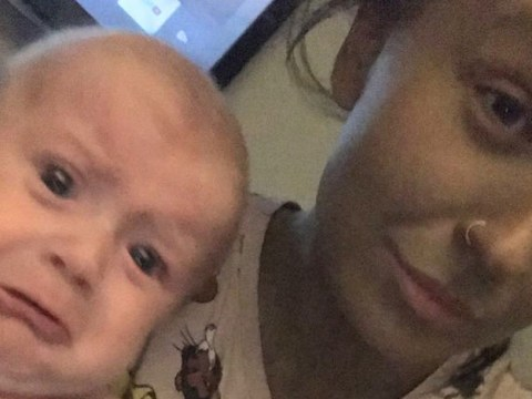 Mum captures the moment her baby cries seeing her fake tan gone wrong