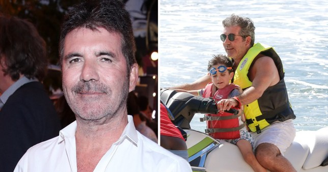 Simon Cowell next to picture of him on a jetski with son Eric