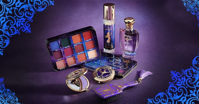 A picture of the range, featuring eye shadows, fragrances and a mirror