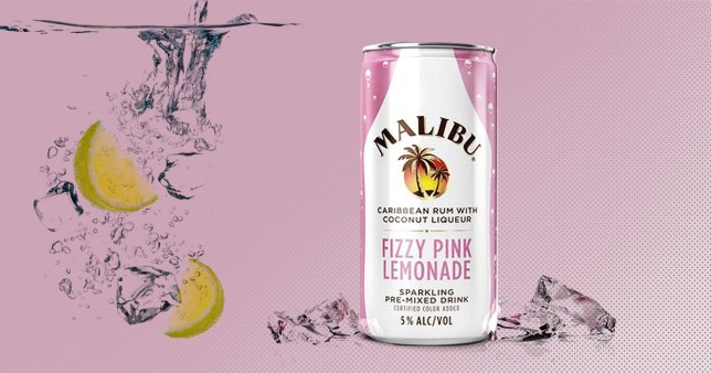 The new malibu can, pink lemonade with rum