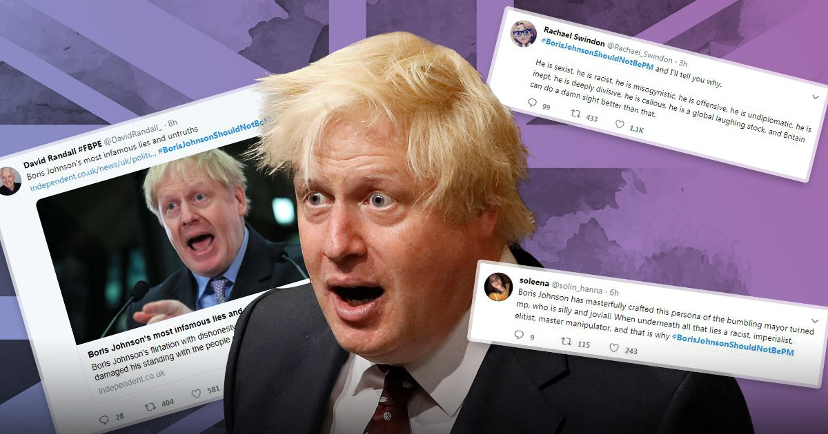 People are tweeting reasons why Boris Johnson shouldn't be Prime Minister