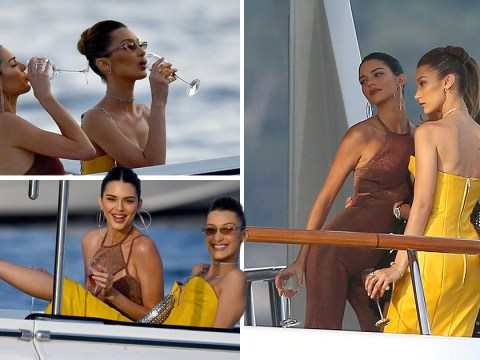 Kendall Jenner and Bella Hadid getting all dressed up to sip champagne in a dingy is a whole mood