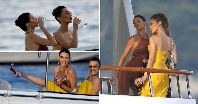Kendall Jenner and Bella Hadid get all dressed up to sip champagne on a dingy in Monaco