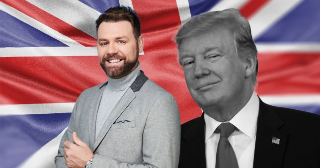 Brian McFadden with US President Donald Trump and the British union jack flag