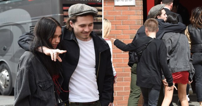 Brooklyn Beckham and Hana Cross at Old Trafford