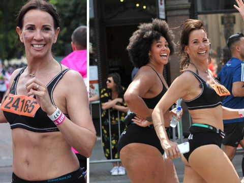 Andrea McLean smashes 10k race in just her underwear after 'nervous' start