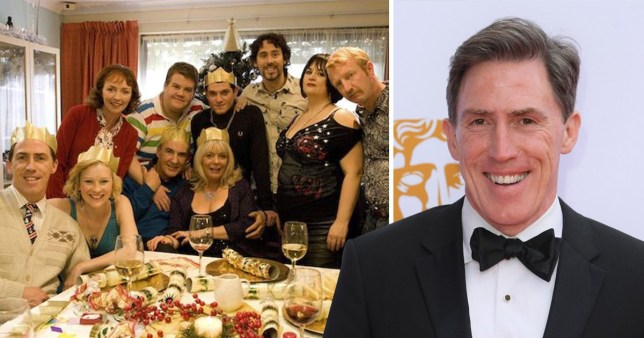 Gavin and Stacey cast with Rob Brydon