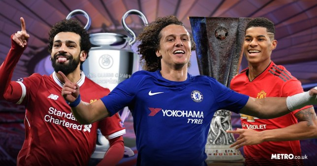 Mo Salah, David Luiz and Marcus Rashford in front of the Champions League and Europa League trophies