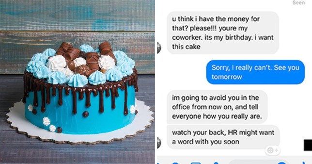 Coworker Threatens To Tell HR When Woman Wont Bake Her A Birthday Cake For Free