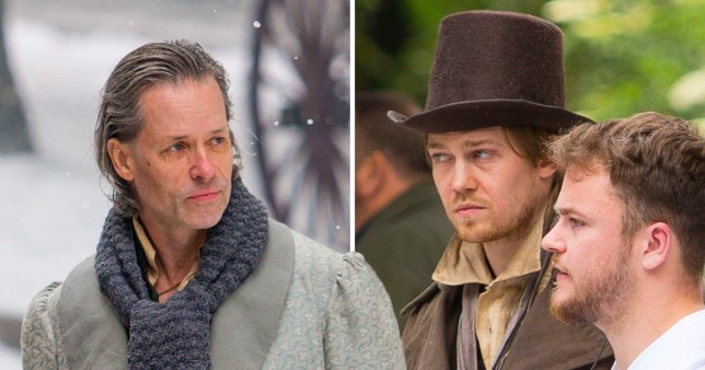 Joe Alwyn and Guy Pearce filming A Christmas Carol