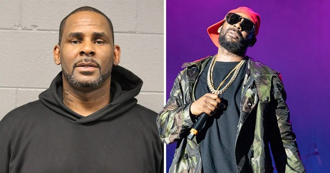 musician R Kelly's mugshot next to a picture of him on stage