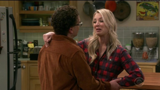 The Big Bang Theory finale scene with Penny and Leonard