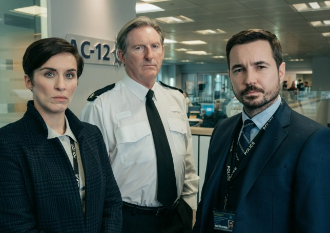 Programme Name: Line of Duty - Series 5 - TX: n/a - Episode: Line of Duty S5 - Portraites (No. n/a) - Picture Shows: Kate (VICKY MCCLURE), Hastings (ADRIAN DUNBAR), Steve (MARTIN COMPSTON) - (C) World Productions Ltd - Photographer: Aidan Monaghan