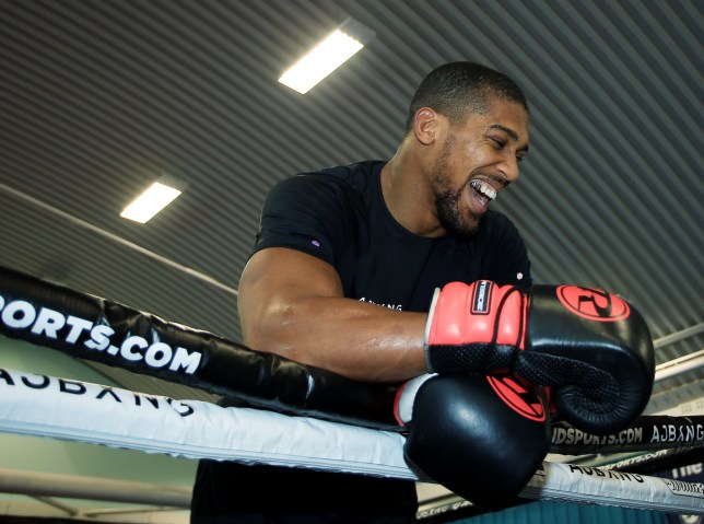 Anthony Joshua working on head movement after return to training at Finchley Boxing Club