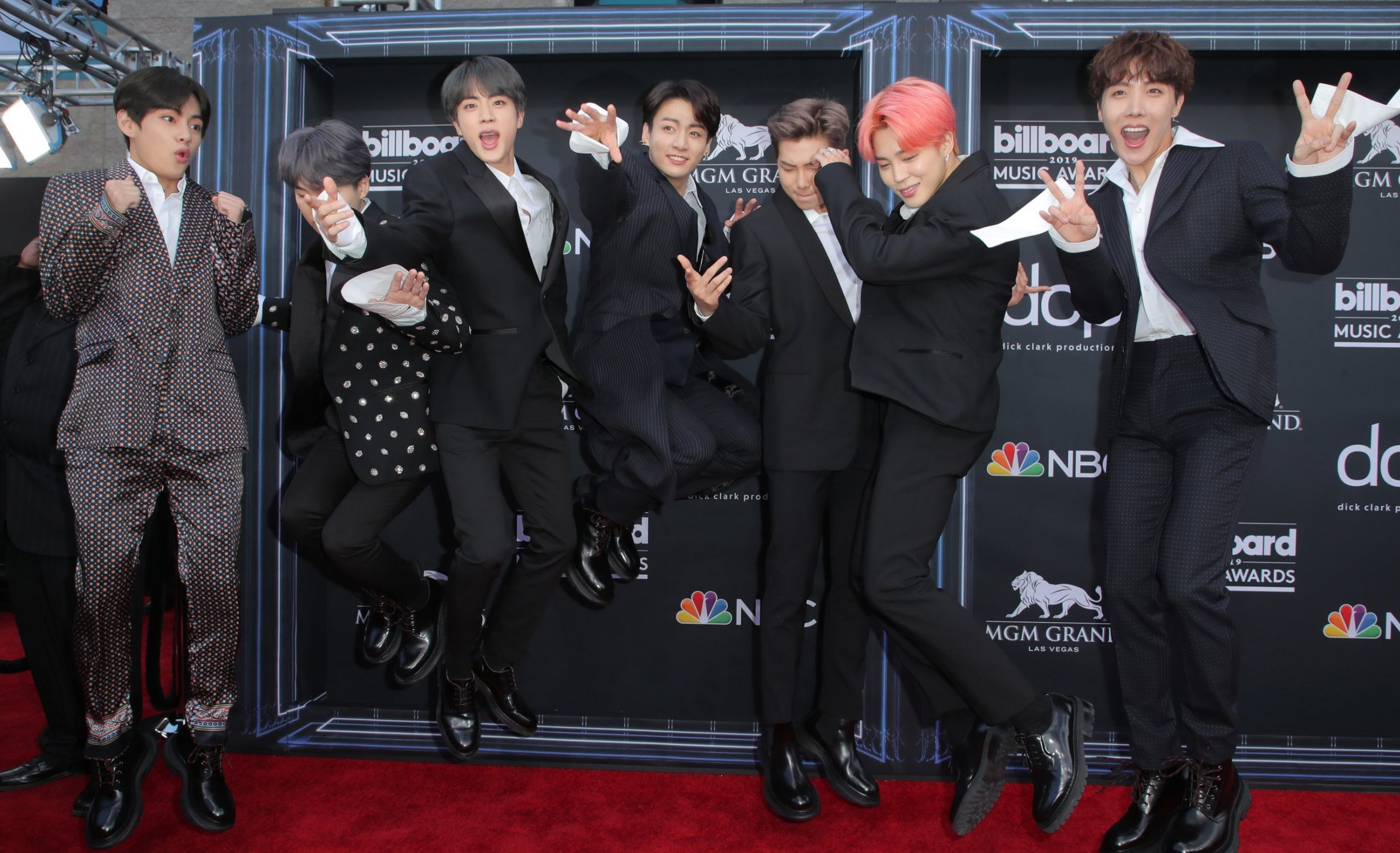 Mandatory Credit: Photo by Chelsea Lauren/REX (10222623aw) BTS Billboard Music Awards, Arrivals, MGM Grand Garden Arena, Las Vegas, USA - 01 May 2019