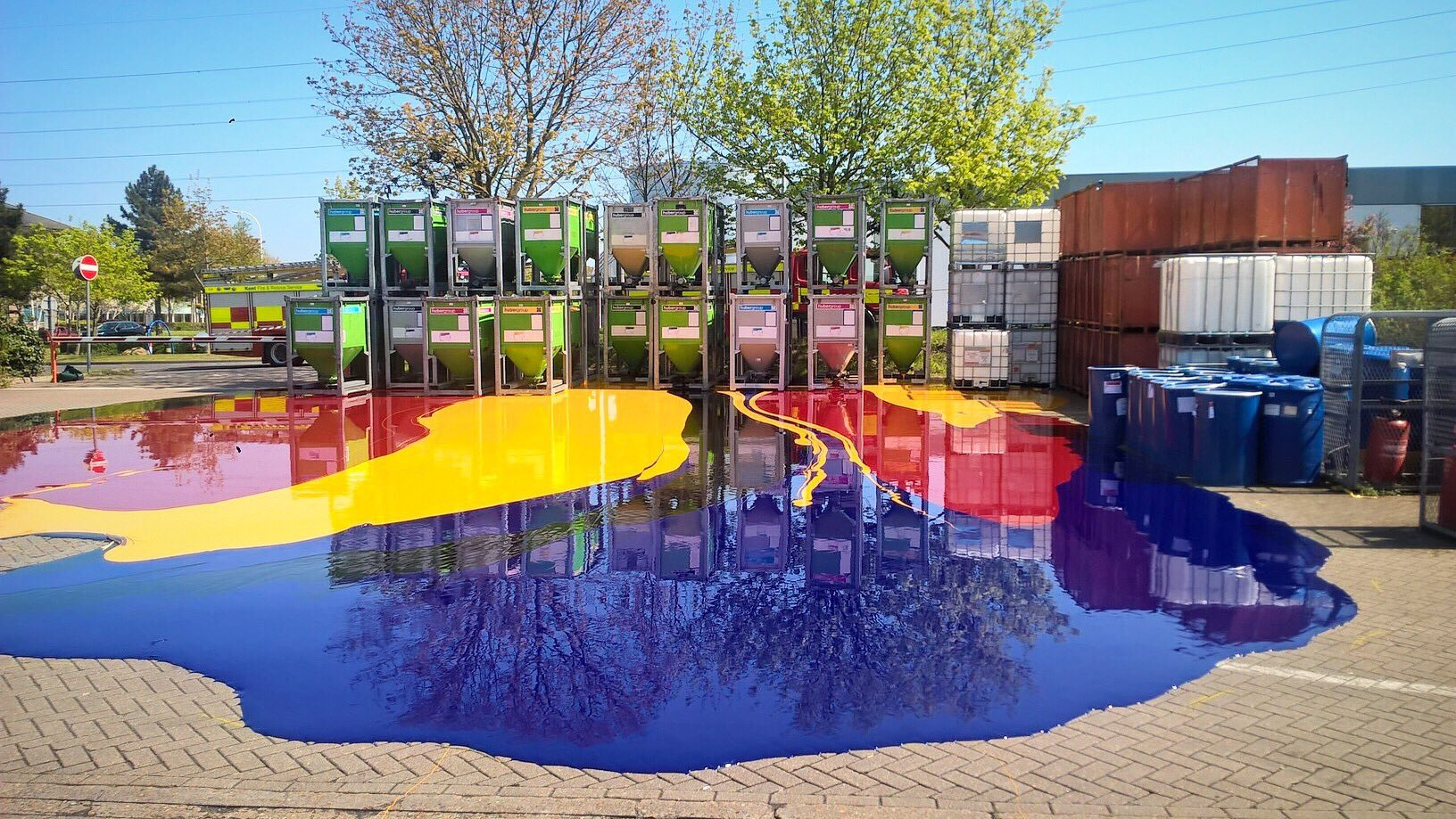Fire crews were confronted with what looked like a modern day masterpiece when they were called to deal with this 5,000 litre INK spill. See National News story NNink. They likened the multi-coloured slick to the popular TV show Art Attack. But the call-out did have a serious side as the firefighters prevented the inks - which can contain harmful chemicals - leaking into the local water supply in Dartford, Kent. Three fire engines rushed to the Howard Hunt Group premises in the town to contain the spill.