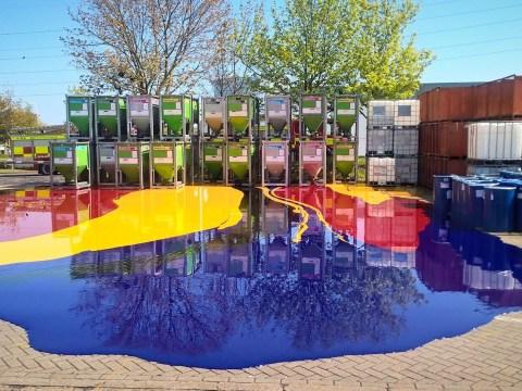 Beautiful liquid pool is actually 5,000 litres of hazardous ink