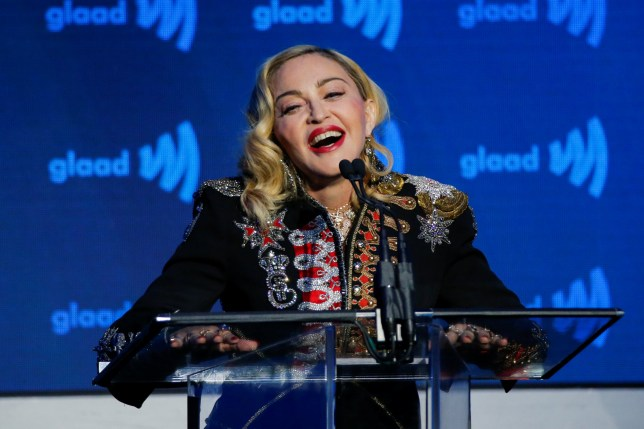 Singer Madonna speaks to guests after receiving the Advocate for Change award during the 30th annual GLAAD awards ceremony in New York City