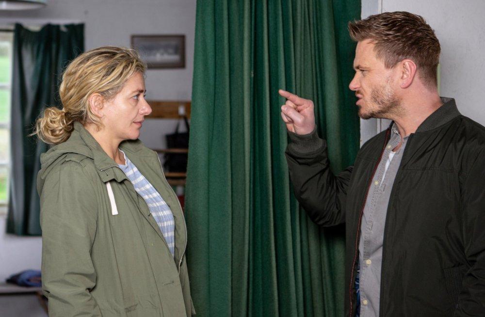 Maya Stepney (Louisa Clein) waits for Jacob Gallagher (Joe-Warren Plant) but is shocked when David Metcalfe (Matthew Wolfenden) shows up instead