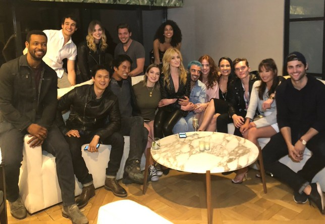 The cast of Shadowhunters at a party to mark the series' last ever episode