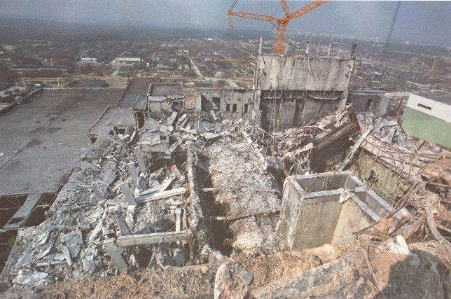 the remains of the chernobyl power station