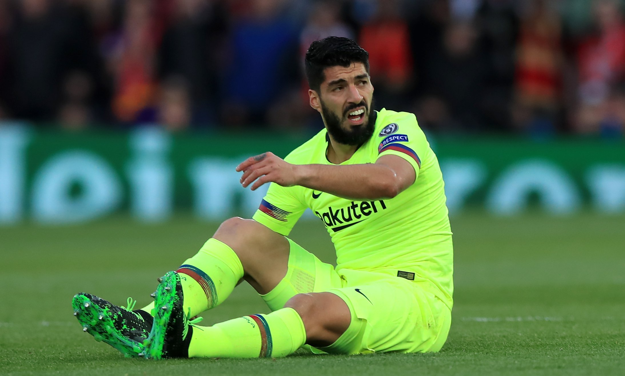 Liverpool fans chant 'f*** off, Suarez' and 'cheat' to Luis Suarez at Anfield during Barcelona clash