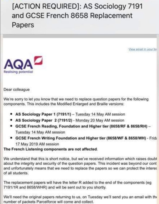 GCSE and AS level exam papers go missing days before tests are due