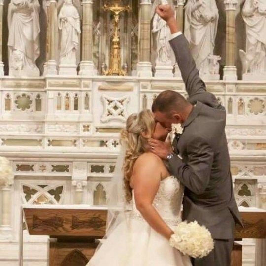 Emily and Cameron on their wedding day. See SWNS story SWNYbladder; A couple who met as children in hospital battling the same rare condition shared their first kiss under a pile of cuddly toys and tied the knot TWENTY years later. Emily, 28, and Cameron Kohlman, 27, both suffered with bladder exstrophy, a birth defect which causes a baby?s bladder to develop outside the body in the womb. The husband and wife, of Canton, Ohio, were just four years old when they were scheduled to have surgery within days of each other at the same hospital. They bonded while recovering and even kissed in the Ronald McDonald house?s playroom. Nine years later, Emily reached out to the little boy she had met and soon fell in love. In November 2012, Cameron, a car salesman, popped the question and the lovebirds tied the knot three years later. They are now the proud parents to Everleigh Grace, two. Emily, a team leader in a medical billing department, said: ?We have bladder exstrophy to thank for everything in our life. ?Without this birth ?defect?, I wouldn?t have met the man I married, the father of my daughter.? Bladder exstrophy occurs in approximately one in every 50,000 live births. It happens when the skin on the infant?s lower abdominal wall does not form properly so the bladder is exposed and unable to store urine. Both Emily and Cameron underwent surgery soon after birth and, when they were four, they were scheduled to have a bladder neck reconstruction, an op which would help them gain urinary continence. Emily said: ?Cameron and I were born with our bladders on the outside. ?Because the condition is so rare we both sought help from John Hopkins Hospital in Baltimore, Maryland, even though I was from Wisconsin and Cameron was from Ohio.