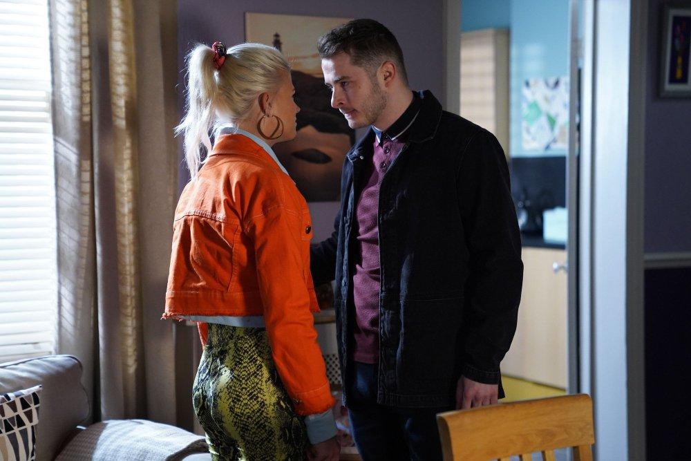 Ben Mitchell (Max Bowden) confronts Lola Pearce (Danielle Harold)