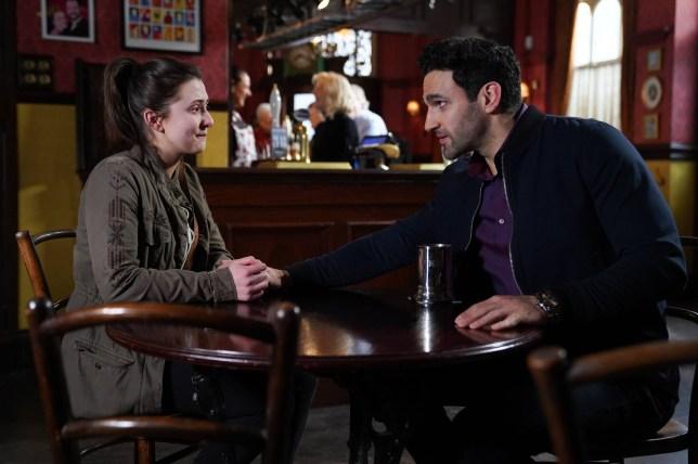 Bex Fowler (Jasmine Armfield) tells Kush Kazemi (Davood Ghadami) how she feels