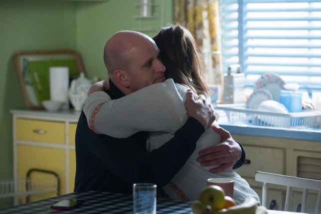 Bex Fowler (Jasmine Armfield) and Stuart Highway (Ricky Champ) hug as he supports her over exam pressure
