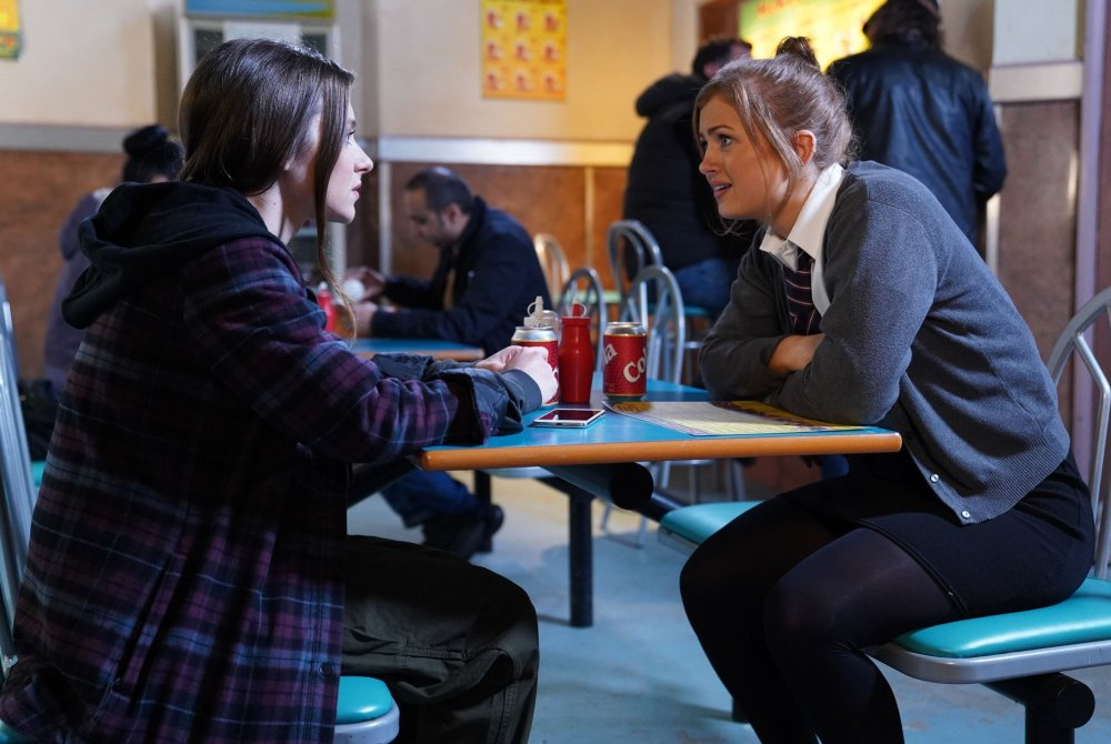 Tiffany Butcher (Maisie Smith) is gutted by what Brooke has told her about Bernadette (Claire Norris)