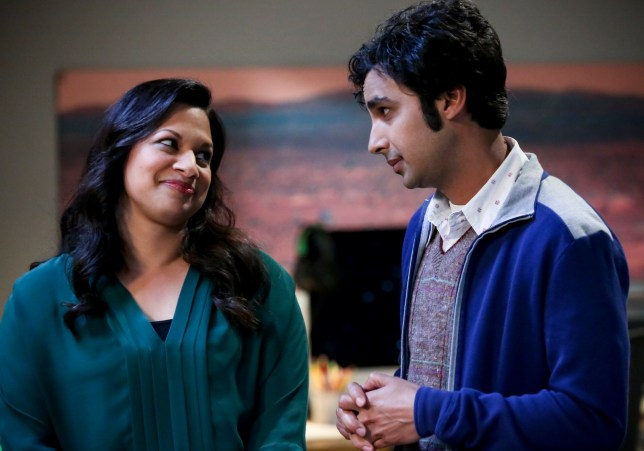 """LOS ANGELES - MARCH 19: """"The Decision Reverberation"""" -- Pictured: Anu (RatI Gupta) and Rajesh Koothrappali (Kunal Nayyar). Koothrappali is worried people won't take him seriously in his own field after publishing a paper that suggests he may have discovered alien life. Also, Leonard wants to be the principal investigator on a plasma physics study, on THE BIG BANG THEORY, Thursday, April 25 (8:00-8:31 PM, ET/PT) on the CBS Television Network. (Photo by Michael Yarish/CBS via Getty Images)"""
