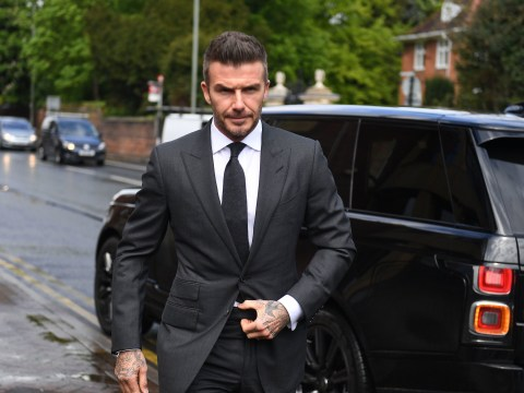 David Beckham arrives at court to be sentenced for using his phone at the wheel
