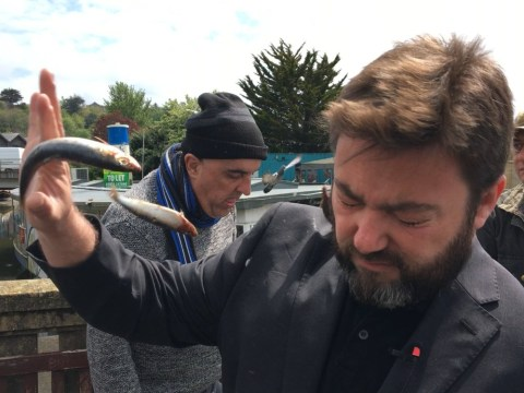 Fish thrown at Ukip candidate Carl Benjamin after he tweeted about raping Jess Phillips