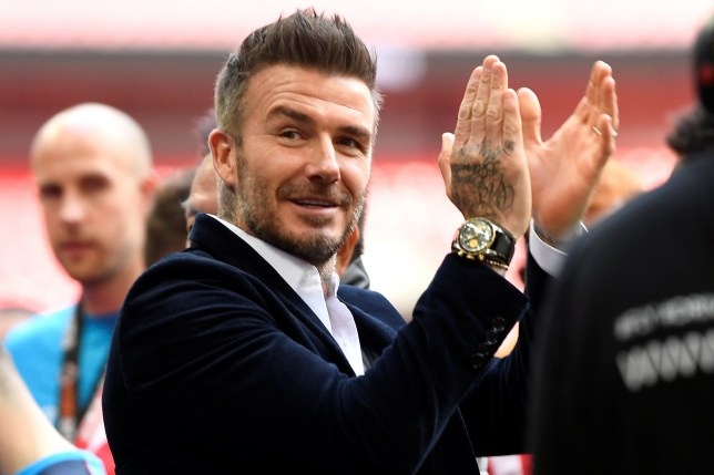 """Soccer Football - National League Promotion Play-Off Final - Salford City v AFC Fylde - Wembley Stadium, London, Britain - May 11, 2019 Salford City owner David Beckham celebrates after the match Action Images via Reuters/Tony O'Brien EDITORIAL USE ONLY. No use with unauthorized audio, video, data, fixture lists, club/league logos or """"live"""" services. Online in-match use limited to 75 images, no video emulation. No use in betting, games or single club/league/player publications. Please contact your account representative for further details."""