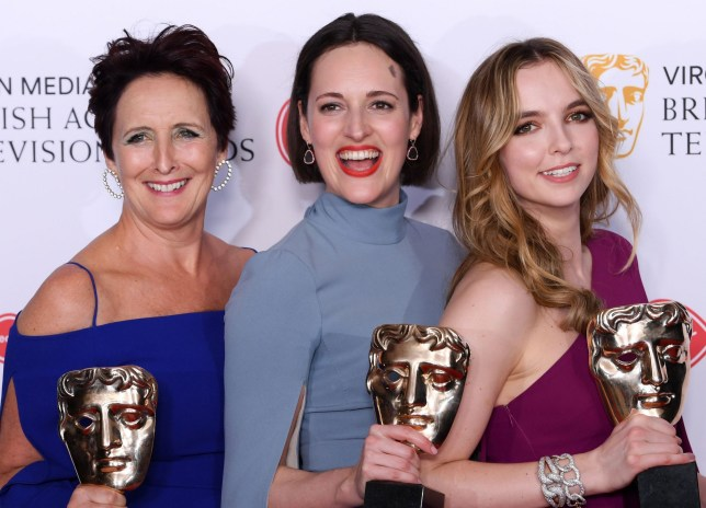 Fiona Shaw, Phoebe Waller-Bridge and Jodie Comer at the Baftas