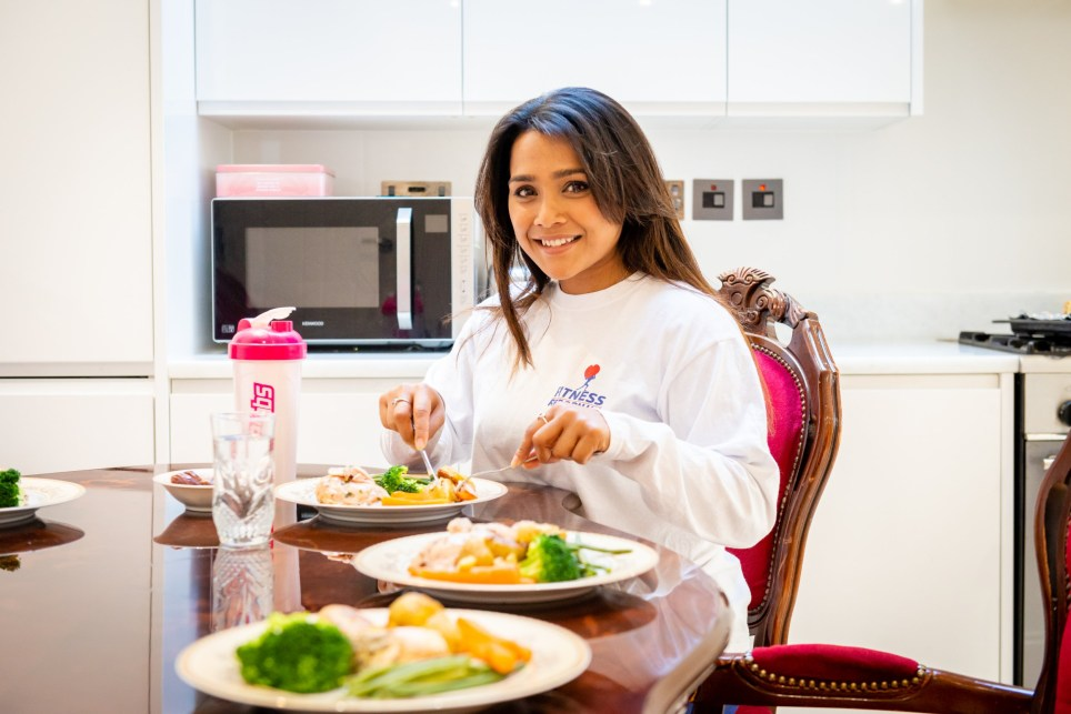 Nazia, a fitness trainer, eating her healthy iftar, the meal Muslims break their fast with