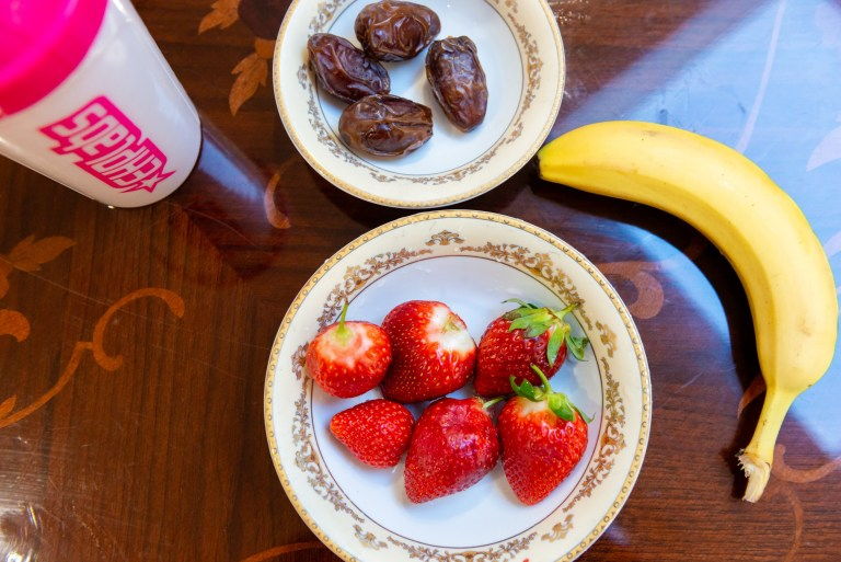 Dates, strawberries, and a banana