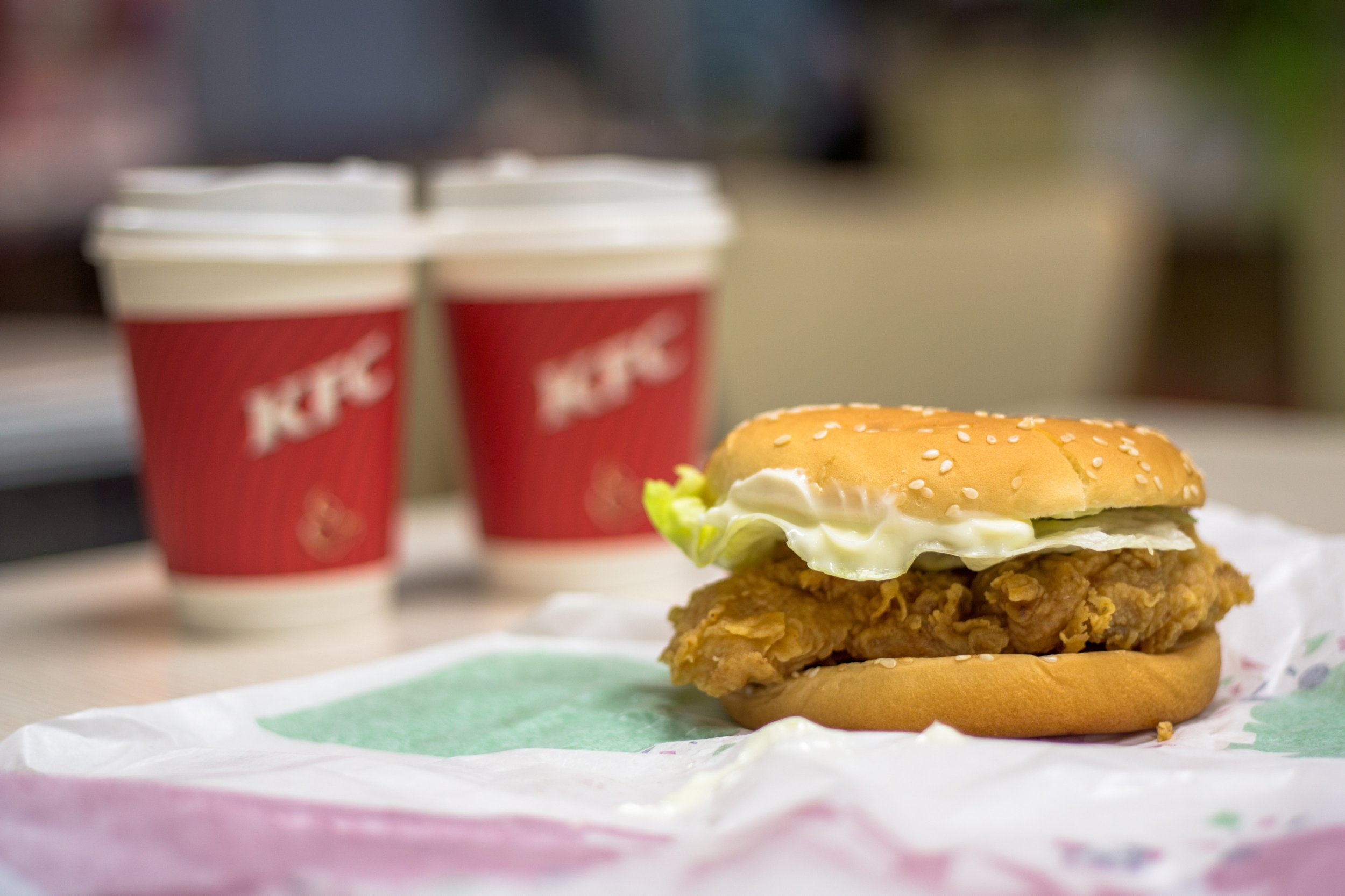 Fried chicken hamburger and freshly ground coffee supplied by KFC