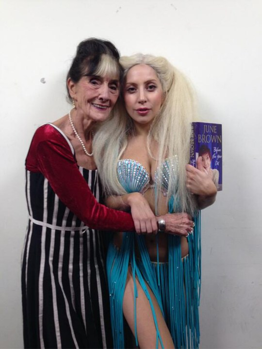 06.NOVEMBER.2013 - JUNE BROWN AND LADY GAGA IN THIS GREAT CELEBRITY TWITTER PICTURE! BYLINE MUST READ : SUPPLIED BY XPOSUREPHOTOS.COM *XPOSURE PHOTOS DOES NOT CLAIM ANY COPYRIGHT OR LICENSE IN THE ATTACHED MATERIAL. ANY DOWNLOADING FEES CHARGED BY XPOSURE ARE FOR XPOSURE'S SERVICES ONLY, AND DO NOT, NOR ARE THEY INTENDED TO, CONVEY TO THE USER ANY COPYRIGHT OR LICENSE IN THE MATERIAL. BY PUBLISHING THIS MATERIAL , THE USER EXPRESSLY AGREES TO INDEMNIFY AND TO HOLD XPOSURE HARMLESS FROM ANY CLAIMS, DEMANDS, OR CAUSES OF ACTION ARISING OUT OF OR CONNECTED IN ANY WAY WITH USER'S PUBLICATION OF THE MATERIAL* *UK CLIENTS MUST CALL PRIOR TO TV OR ONLINE USAGE PLEASE TELEPHONE 020 8370 0291 & +1 310 562 7073*