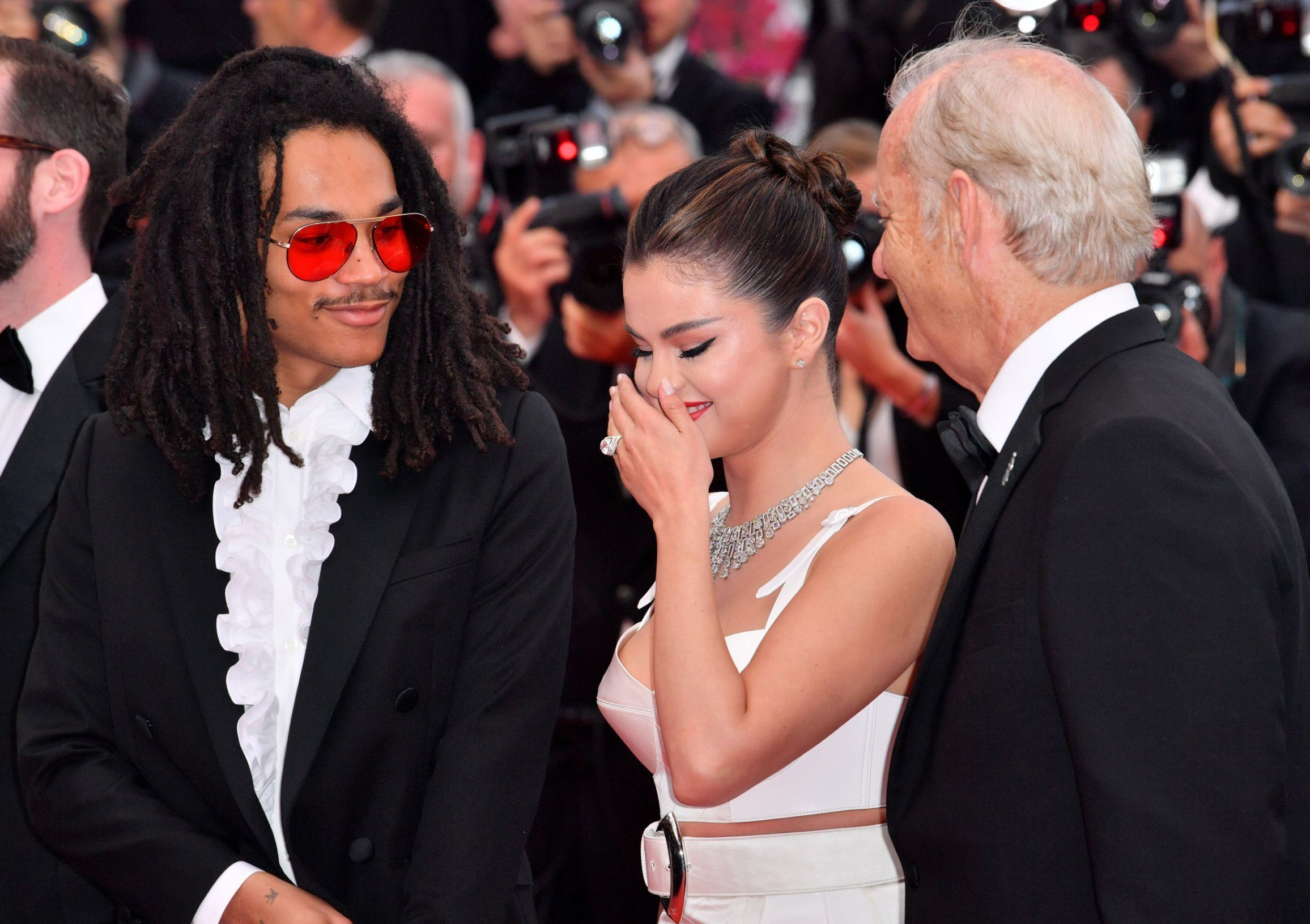 Luka Sabbat, Selena Gomez and Bill Murray during The Dead Don't Die premiere in Cannes