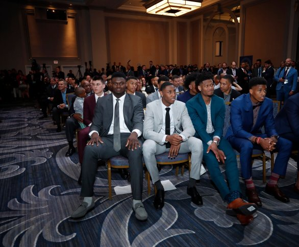 NBA Draft Prospects Zion Williamson, Cam Reddish and RJ Barrett look on at the 2019 NBA Draft Lottery on May 14, 2019 at the Chicago Hilton in Chicago, Illinois. NOTE TO USER: User expressly acknowledges and agrees that, by downloading and/or using this photograph, user is consenting to the terms and conditions of the Getty Images License Agreement. Mandatory Copyright Notice: Copyright 2019 NBAE (Photo by Jeff Haynes/NBAE via Getty Images)