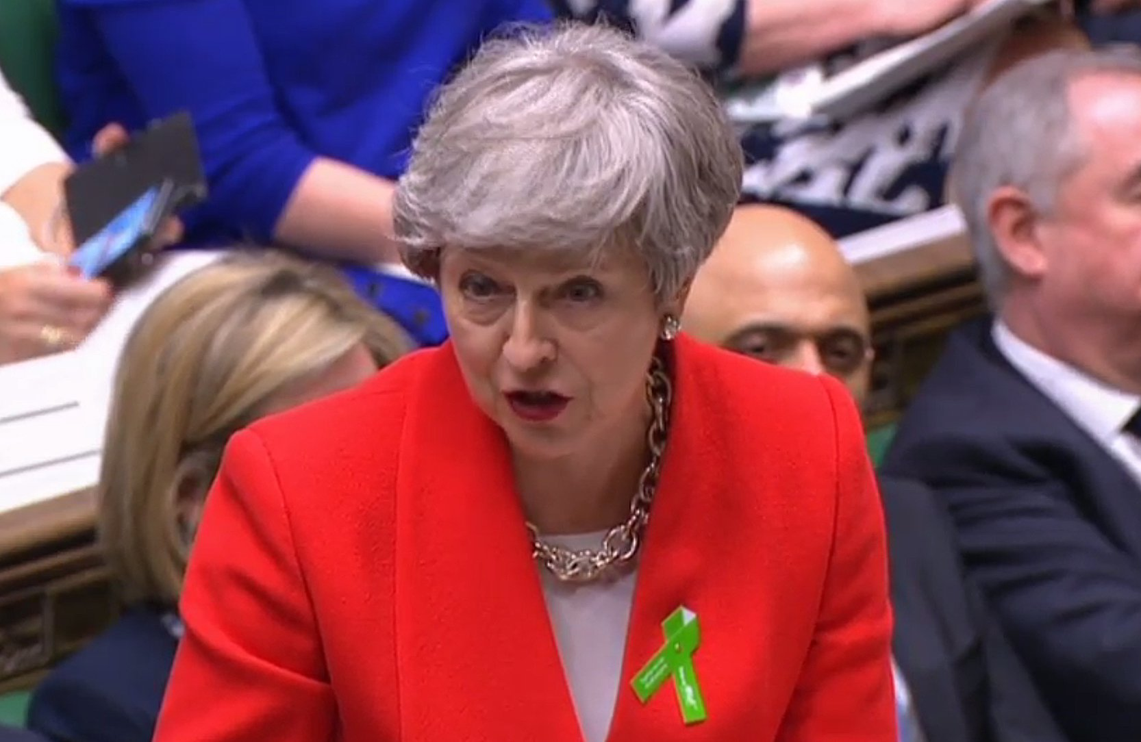 """A video grab from footage broadcast by the UK Parliament's Parliamentary Recording Unit (PRU) shows Britain's Prime Minister Theresa May speaking during the weekly Prime Minister's Questions (PMQs) session in the House of Commons in London on May 15, 2019. (Photo by HO / various sources / AFP) / RESTRICTED TO EDITORIAL USE - MANDATORY CREDIT """" AFP PHOTO / PRU """" - NO USE FOR ENTERTAINMENT, SATIRICAL, MARKETING OR ADVERTISING CAMPAIGNSHO/AFP/Getty Images"""