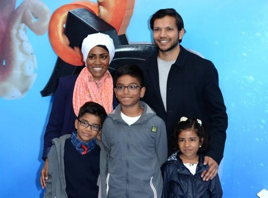 Nadiya Hussain, her husband Abdal Hussain and their three children