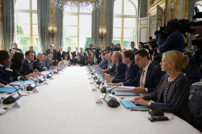 BGUK_1589686 - ** RIGHTS: ONLY UNITED KINGDOM ** Paris, FRANCE - Tech for Good Summit, President Emmanuel Macron launches the Call of Christchurch to act against terrorism and violent extremism online in the presence of Jacinda Ardern, Prime Minister of New Zealand Pictured: Emmanuel Macron BACKGRID UK 15 MAY 2019 BYLINE MUST READ: BEST IMAGE / BACKGRID UK: +44 208 344 2007 / uksales@backgrid.com USA: +1 310 798 9111 / usasales@backgrid.com *UK Clients - Pictures Containing Children Please Pixelate Face Prior To Publication*
