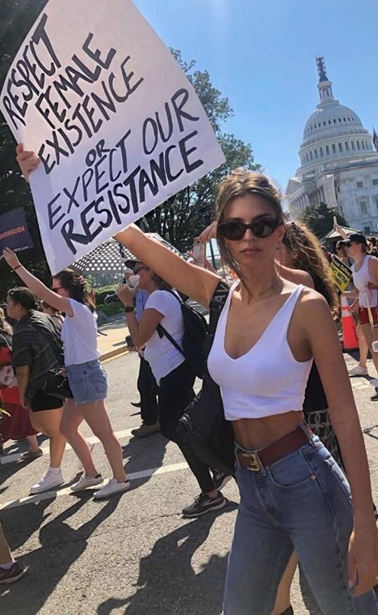 Emily Ratajkowski protesting against Brett Kavanagh