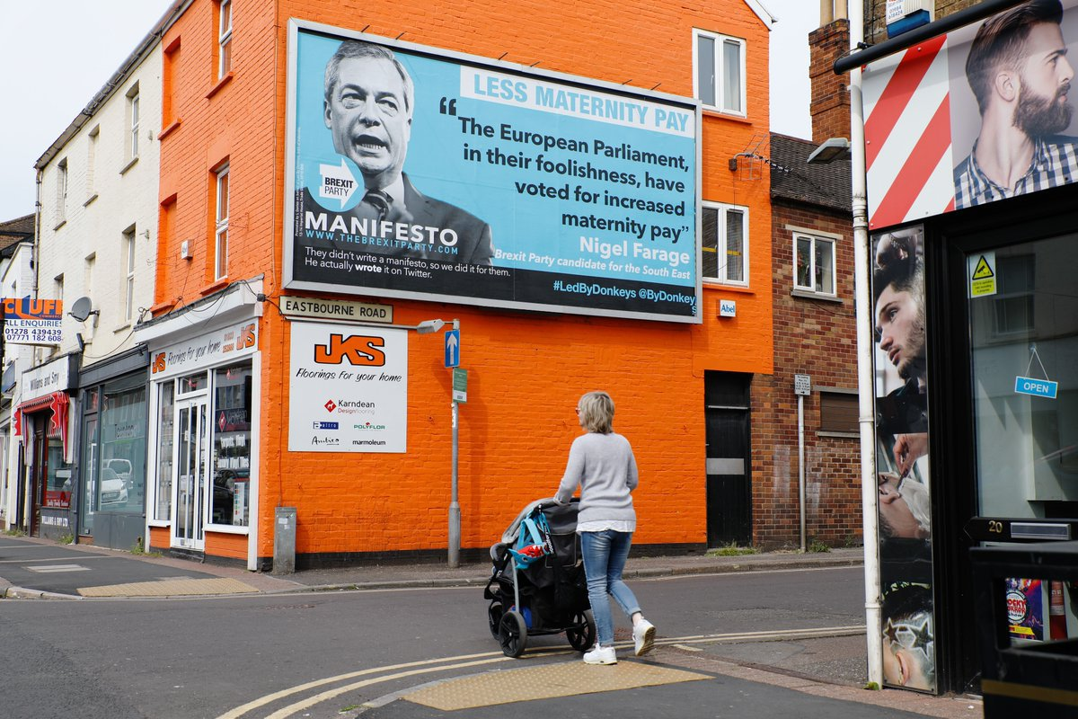 Nigel Farage's Brexit Party manifesto written for him on billboards across UK