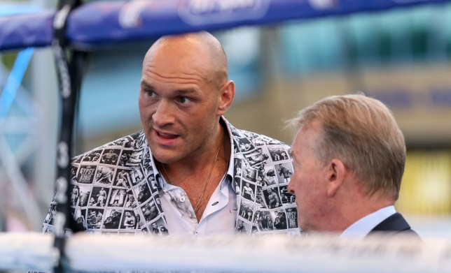 Tyson Fury (left) and Frank Warren at The Lamex Stadium, Stevenage. PRESS ASSOCIATION Photo. Picture date: Saturday May 18, 2019. Photo credit should read: Paul Harding/PA Wire